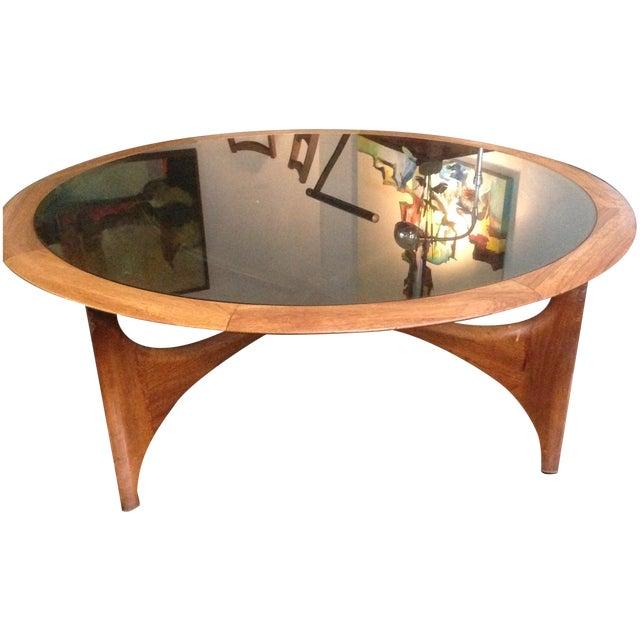 Henry Mid Century Modern Weathered Walnut Round Coffee: Round Mid-Century Modern Coffee Table By Lane