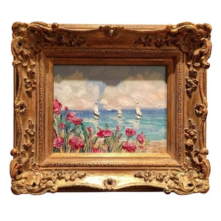 """French Sailboats Flowers Seascape"", Original Oil Painting"