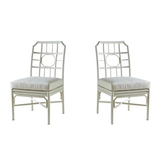 Pair of Regeant White 4 Season Side Chairs With Cushions