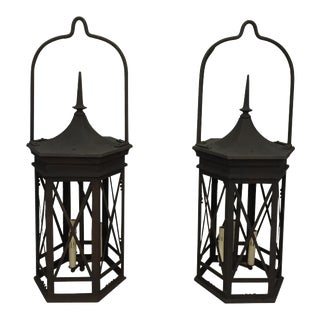 Early 20th Century Iron Lanterns - a Pair