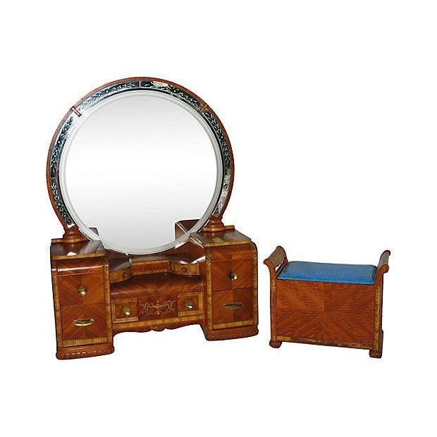 Art Deco Vanity and Bench - Image 1 of 4
