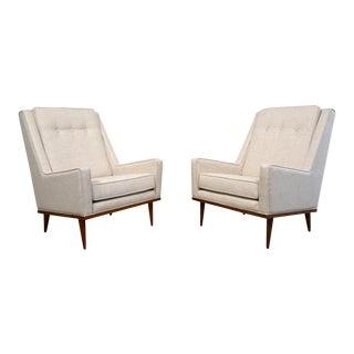 Milo Baughman Lounge Chairs and Ottoman for James Inc.