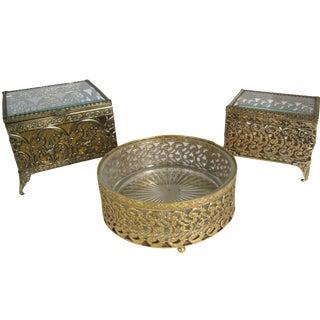 Filigree Jewelry Caskets & Catchall - Set of 3