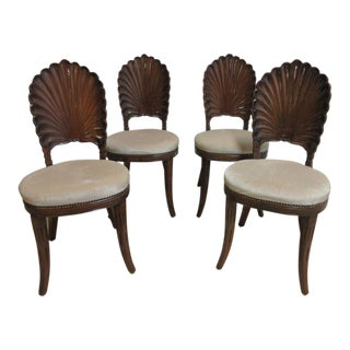 Vintage Shell Carved French Regency Dining Room Side Chairs - Set of 4