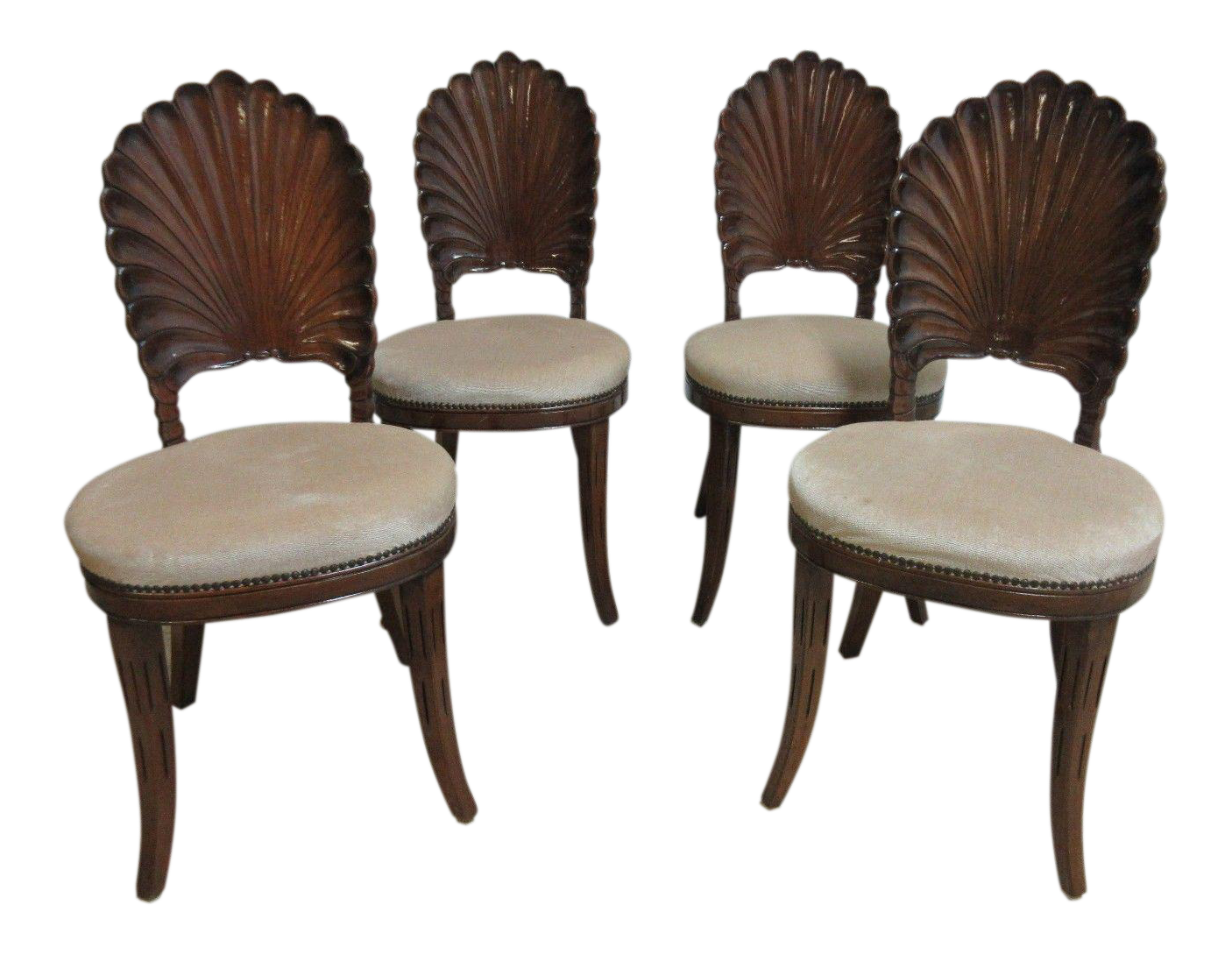 Vintage Shell Carved French Regency Dining Room Side Chairs   Set Of 4