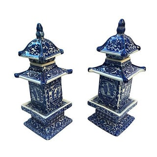 Chinese Blue & White Lidded Pagodas - Pair