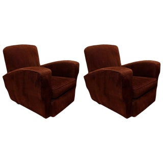 French Corduroy Club Chairs - A Pair