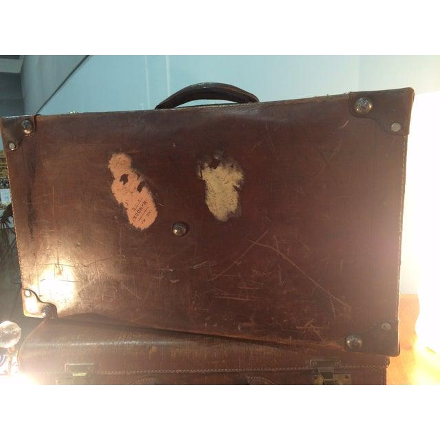 Antique Suitcase Bullock Hide Worldwide Traveler - Image 4 of 6
