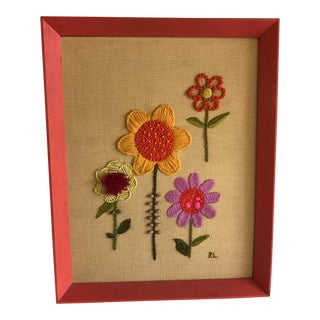 1970s Needlepoint Flower Art