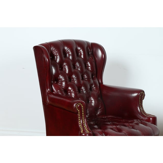Schaffer Bros Burgundy Leather Chairs - A Pair - Image 7 of 11