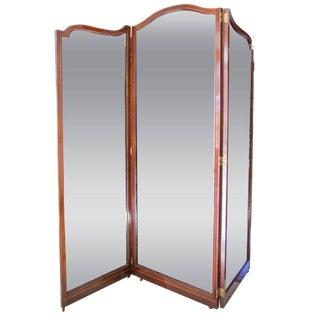 Fine English 19th C. Three-Panel Mahogany and Mirror Folding Screen