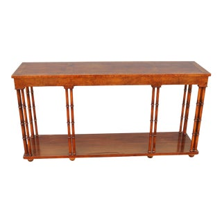 Baker Mid-Century Wood Faux Bamboo Console Table