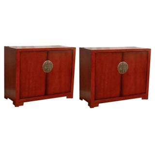 Restored Pair of Vintage Glazed Lacquer Cabinets by Baker
