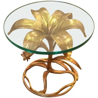 Arthur Court Mid-Century Lily Gilt Metal Side Table