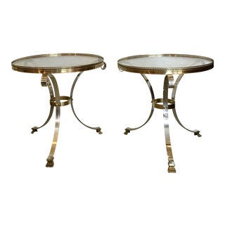 Chromed Metal & Brass Side Tables - A Pair