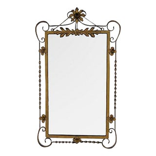 1940s Ornate Chic Gold Metal Floral Tole Wall Mirror