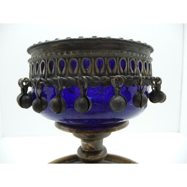 Vintage silver plate blue glass centerpiece chairish