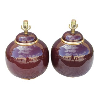 Mid-Century Italian Plum Colored Balloon Lamps - A Pair