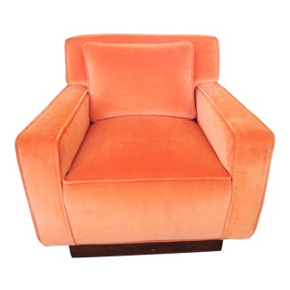 Alison K. Pollack Orange Cotton Velvet Club Chair