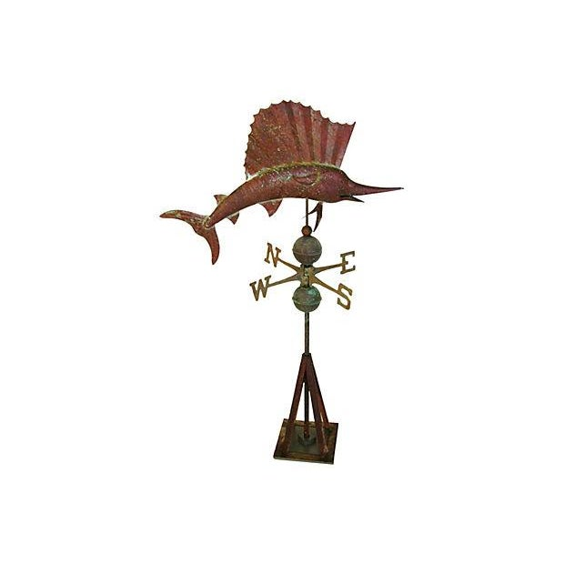 Vintage Copper Sailfish Weathervane with Stand - Image 1 of 7