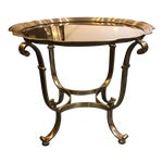 Image of Vintage Scalloped Brass & Glass Side Table