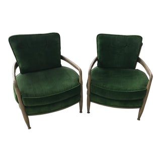 Mid-Century Green Barrel Cane Chairs- A Pair