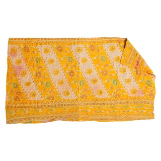 Vintage Indian Yellow Kantha Quilt