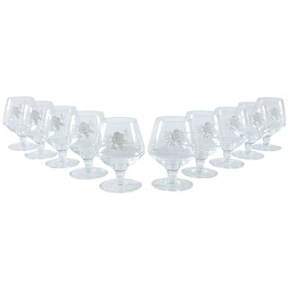 French Floral Cognac Glasses - Set of 10