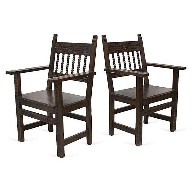 Spanish Armchairs - A Pair - Image 1 of 4