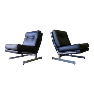 Pair - Mid Century Modern Chrome Lounge Chairs