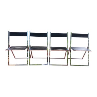 Modern Leather & Steel Folding Chairs - S/4