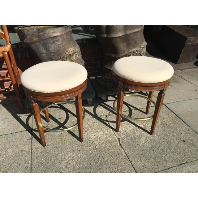 Image of Walnut Backless Swivel Stools - A Pair