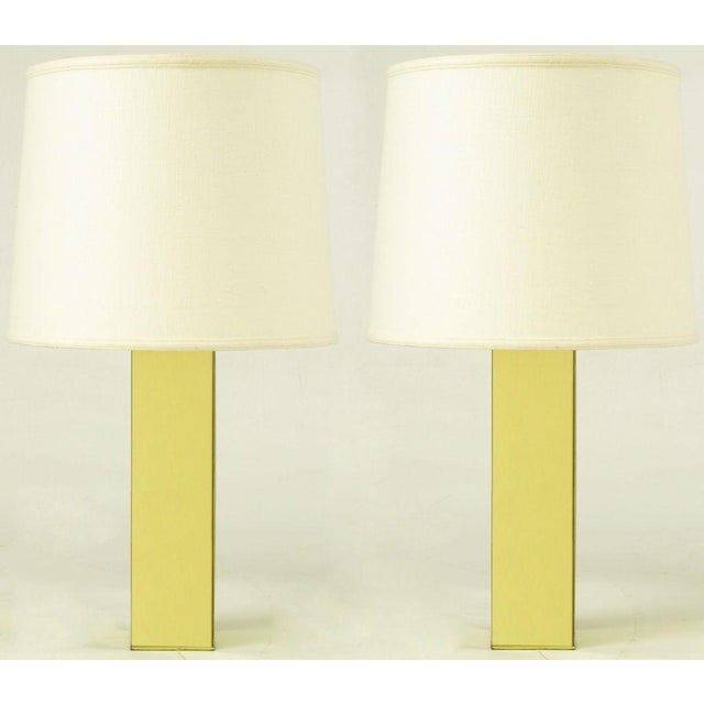 Pair Polished Brass Column Table Lamps - Image 3 of 6
