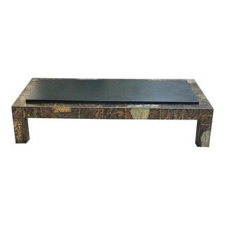 Paul Evans Mid-Century Modern Slate & Patchwork Metal Coffee Table