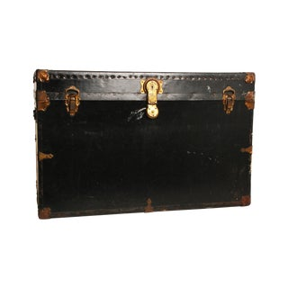 Vintage Black & Gold Wood Steamer Trunk