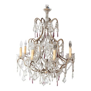 19th Century Italian 8 Light Crystal Chandelier
