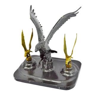 Brass Eagles Landing Sculpture