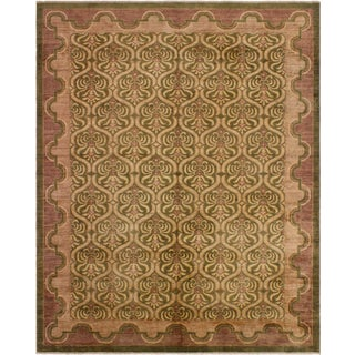 Kafkaz Peshawar Lucina Green/Brown Wool Rug - 9'0 X 11'9