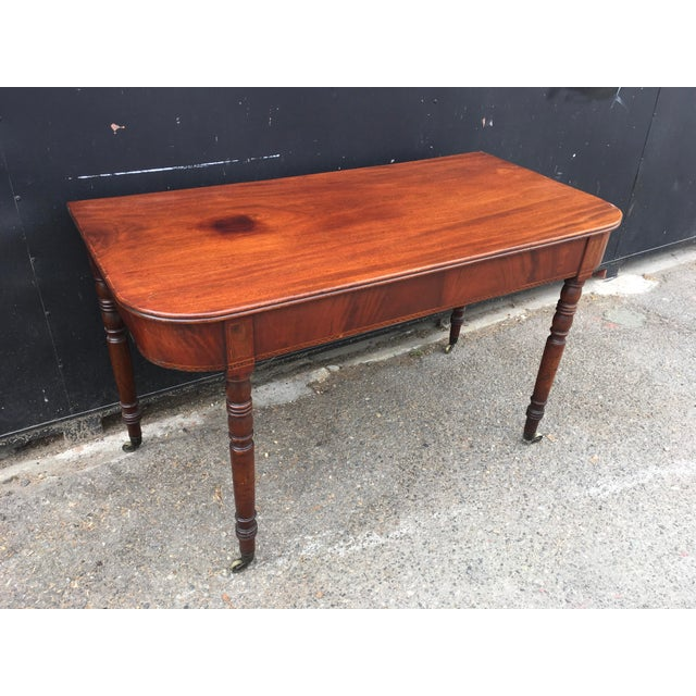 Antique English Walnut Writing Desk on Brass Casters - Image 3 of 11