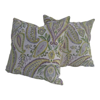 Lime and Purple Paisley Pillows - A Pair