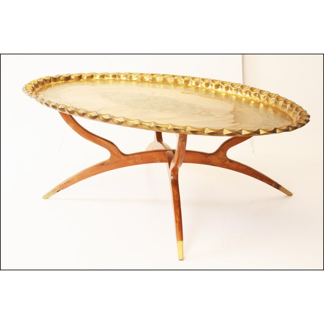 Vintage Moroccan Coffee Table with Brass Charger Top - Image 7 of 11