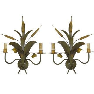Pair of French 1940s Hand-Painted Toll Sconces Attributed to Maison Baguès
