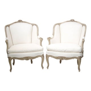 French 19th Century Louis XV Painted Bergeres - A Pair