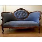 Image of Blue Velvet Victorian Walnut Frame Sofa