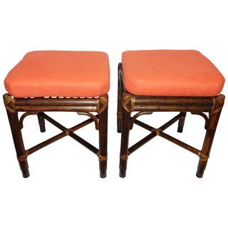 Vintage McGuire Rattan Benches - Pair