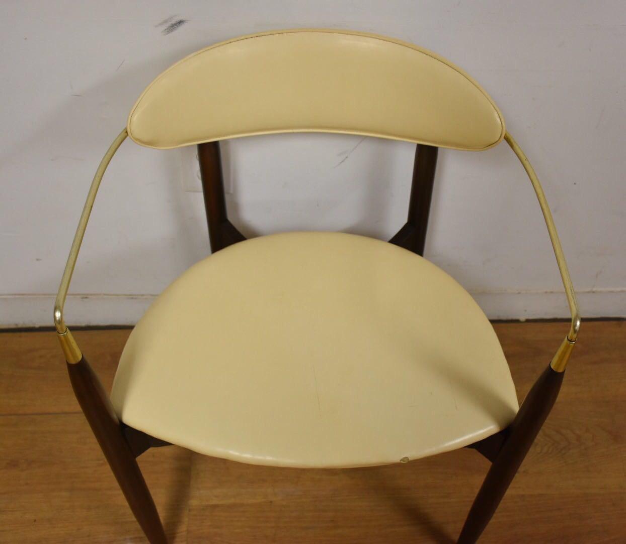 Dan Johnson Beechwood and Off-White Vinyl Viscount Chair - Image 9 of 10