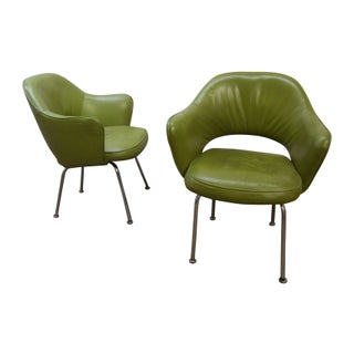 Eero Saarinen Green Executive Armchairs - A Pair