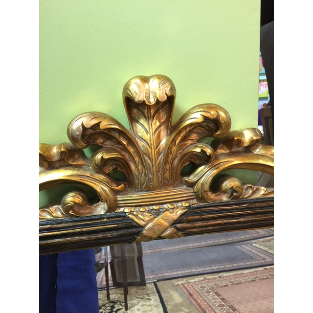 Image of Black & Gold Hollywood Regency Style Mirror