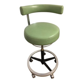 Green Adjustable Mid-Century Industrial Stool