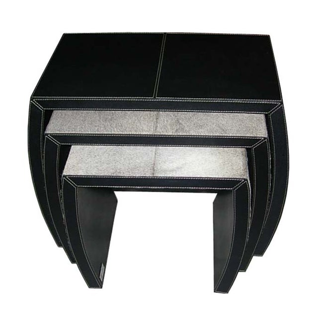 Hair on Black Leather Nesting Tables - Set of 3 - Image 5 of 5